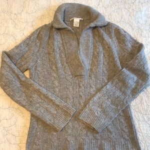 Cable Knit Gray Cashmere Sweater Junior's Large